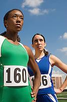 Two female track athletes