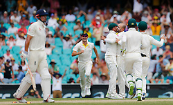 Australia's Nathan Lyon celebrates the wicket of England's Alastair Cook during day four of the Ashes Test match at Sydney Cricket Ground.