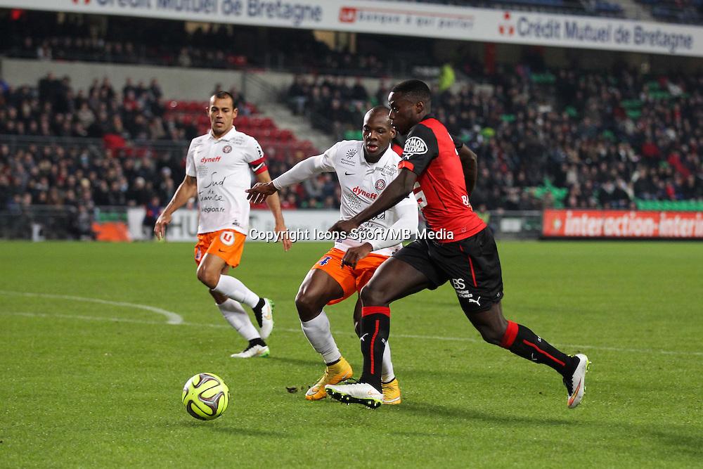 Paul Georges NTEP / Bryan DABO - 06.12.2014 - Rennes / Montpellier - 17eme journee de Ligue 1 -<br />Photo : Vincent Michel / Icon Sport