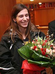 Reception of Slovenian triple jumper Marija Sestak (Martinovic) after she jumped 15,08 m (the best score of the year in the world and nationai record) in Athens, on February 14, 2008 in M-Hotel, Ljubljana, Slovenia. (Photo by Vid Ponikvar / Sportal Images)