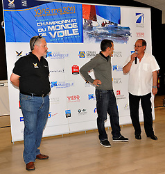 Christian Tommasini, the President of the Yacht Club Pointe Rouge, Marseille, introduces the teams competing at Match Race France to Christopher Pratt, Patron of Match Race France 2001.