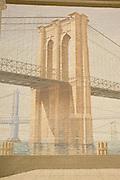 Richard Hass Paiting of Brooklyn Bridge,Lower Manhattan,New York,U.S.A.