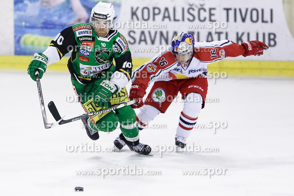 15.01.2013, Hala Tivoli, Ljubljana, SLO, EBEL, HDD Telemach Olimpija Ljubljana vs EC Red Bull Salzburg, 42. Runde, in picture Brock McBride (HDD Telemach Olimpija, #10) vs Ryan Duncan (EC Red Bull Salzburg, #16) during the Erste Bank Icehockey League 42nd Round match between HDD Telemach Olimpija Ljubljana and EC Red Bull Salzburg at the Hala Tivoli, Ljubljana, Slovenia on 2013/01/15. (Photo By Matic Klansek Velej / Sportida)
