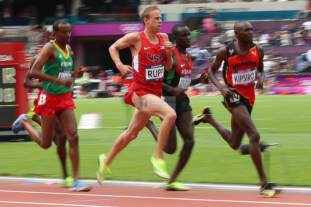 Galen Rupp runs in a heat for the men's 5000m during track and field at the Olympic Stadium during day 12 of the London Olympic Games in London, England, United Kingdom on August 8, 2012..(Jed Jacobsohn/for The New York Times)..