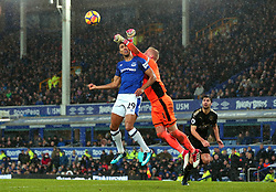 Dominic Calvert-Lewin of Everton challenges Kasper Schmeichel of Leicester City - Mandatory by-line: Robbie Stephenson/JMP - 31/01/2018 - FOOTBALL - Goodison Park - Liverpool, England - Everton v Leicester City - Premier League