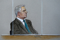 Court artist Julia Quenzler's sketch of Andy Hill, 54, of Sandon, Hertfordshire, the pilot of the Hawker Hunter which crashed at the Shoreham Airshow in 2015 as he appears at Westminster Magistrates Court in London, indicating he will plead not guilty to killing 11 men when his aircraft hit the A27 in Sussex after performing an aerobatics display. London, April 19 2018.