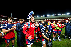 Jordan Crane looks on as Joe Joyce leads the Bristol Bears and the crowd in a final rendition of the Blackbird Song at home this season, after the match ends 20-20 - Rogan/JMP - 03/05/2019 - RUGBY UNION - Ashton Gate Stadium - Bristol, England - Bristol Bears v Sale Sharks - Gallagher Premiership Rugby.