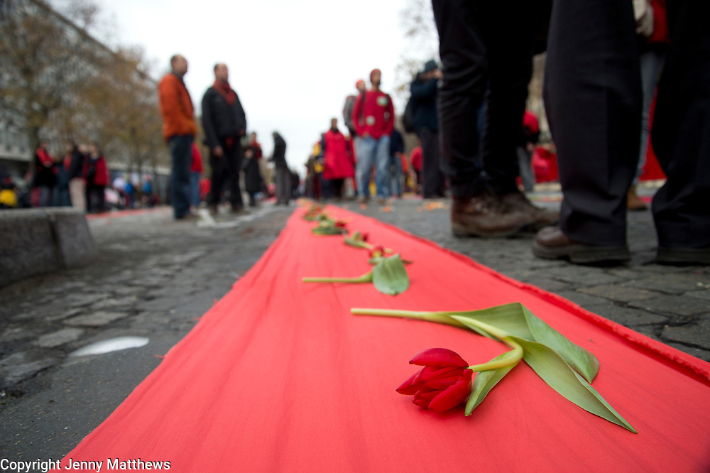 France, Paris December 2015 COP 21 UN Climate Conference. D12 Day of action drawing red lines across Paris.