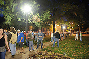 Widespread Panic fans congregating in Etermal Flame Park across Market Street from the Peabody Opera House before the concert.