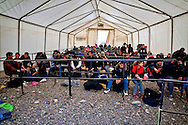 The refugees after they crossed the border into Greece-Macedonia   arrive  to the transit camp for take a special train that takes them to the Serbian border. 8 Febraury 2016.<br /> Hundreds of refugees arrive at Idomeni and cross the border between Greece and Macedonian on their journey to North Europe.