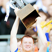 13 Septermber 2009; Clare captain Ciar·n O'Doherty lifts the cup. Bord Gais Energy GAA All-Ireland U21 Hurling Championship Final, Clare v Kilkenny, Croke Park, Dublin. Picture credit: Stephen McCarthy / SPORTSFILE