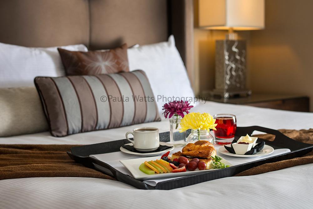 Breakfast in Bed in hotel room San Diego California
