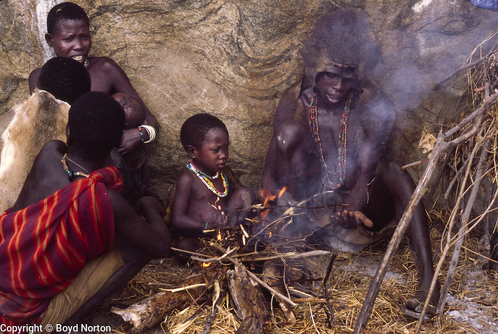 Hadza people, one of the last hunter-gatherer tribes left in Africa, Lake Eyasi region, Tanzania.