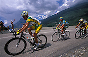 Phonak's Oscar Pereiro Sio leads T-Mobile's Alexandre Vinokourov at the start of the climb of the Col du Télégraphe on Wednesday 13th July 2005.