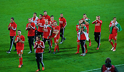 CARDIFF, WALES - Tuesday, October 13, 2015: Wales players celebrate after qualifying for the finals following a 2-0 victory over Andorra during the UEFA Euro 2016 qualifying Group B match at the Cardiff City Stadium. Wes Burns, James Chester, Tom Lawrence, Adam Henley, Emyr Huws, goalkeeper Owain Fon Williams, Joe Allen, goalkeeper Daniel Ward, David Vaughan, Ashley 'Jazz' Richards, Neil Taylor, Simon Church, Sam Vokes, Andy King, David Edwards, David Cotterill. (Pic by Paul Currie/Propaganda)
