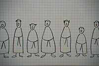 Humorous, simplistic, drawing of monks singing.