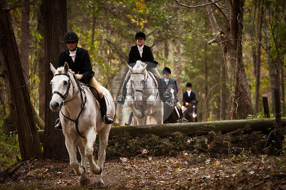 Fox hunters make their way through the forest during the start of the fox hunting season at Middleton Place Plantation on November 27, 2011 in Charleston, South Carolina. The Middleton Place hunt is a no kill fox hunt called a drag hunt.