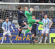 Dundee keeper Scott Bain clutches a cross under pressure from Ross County's Jackson Irvine - Ross County v Dundee, SPFL Premiership at The Global Energy Stadium<br /> <br />  - &copy; David Young - www.davidyoungphoto.co.uk - email: davidyoungphoto@gmail.com