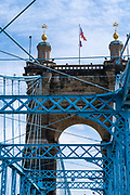 Images of the Roebling Bridge over the Ohio River between Cincinnati, Ohio and Covington, Kentucky on a spring day when it's open to pedestrians.