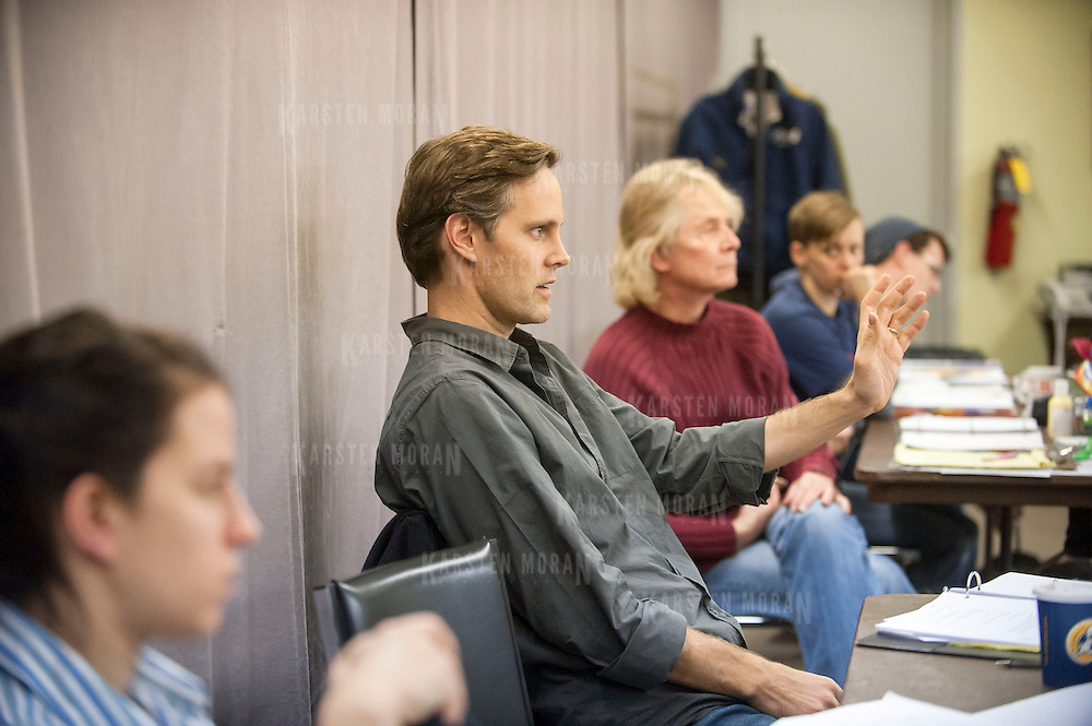 """November 20, 2012 - New York, NY : Director Davis McCallum, at center in green shirt, during an  early rehearsal for """"Water by the Spoonful"""" at Second Stage Theatre on West 43rd Street in Manhattan on Tuesday night. The play, by Quiara Alegria Hudes, won the 2012 Pulitzer Prize for drama. CREDIT: Karsten Moran for The New York Times"""