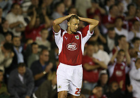 Photo: Rich Eaton.<br /> <br /> Bristol City v Manchester City. Carling Cup. 29/08/2007. Bristol City's Lee Trundle shows his disappiontment after missing a late chance to equalize.