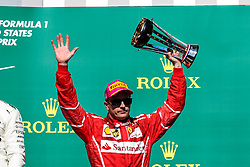 October 22, 2017 - Austin, Texas, U.S - Ferrari driver Kimi Raikkonen (7) of Finland on the podium after the Formula 1 United States Grand Prix race at the Circuit of the Americas race track in Austin,Texas. (Credit Image: © Dan Wozniak via ZUMA Wire)