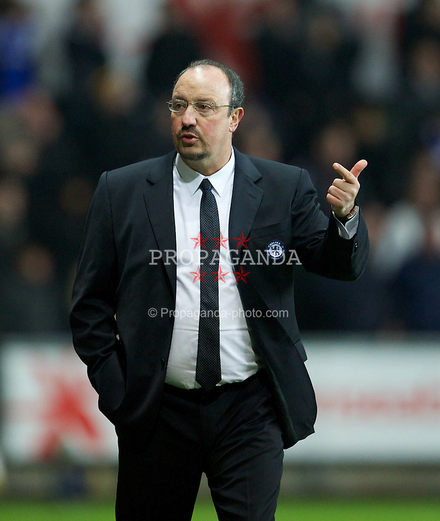 SWANSEA, WALES - Wednesday, January 23, 2013: Chelsea's manager Rafael Benitez counts out the seconds that the Swansea City goalkeeper wastes during the Football League Cup Semi-Final 2nd Leg match at the Liberty Stadium. (Pic by David Rawcliffe/Propaganda)