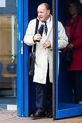 Glyndebourne Opera Director of Artistic Administration Steven Naylor leaves the Croydon Tribunal Service after day two of an ongoing hearing as claimant chorister Neil Williams, 48, argues Glyndebourne Opera bosses sacked him because he was too old. London, August 14 2019.