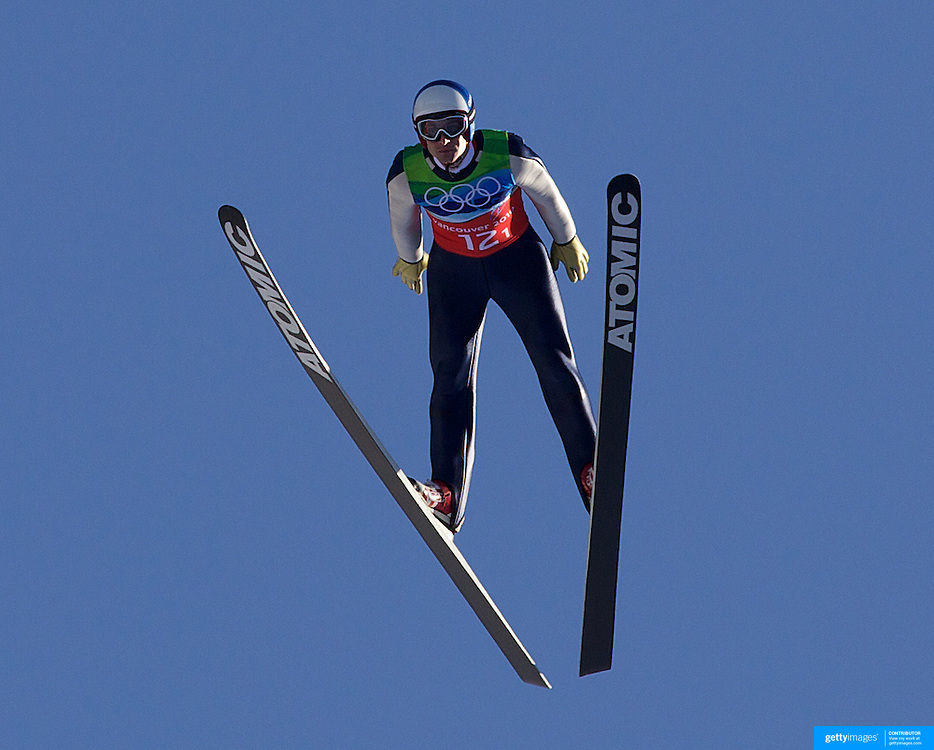 Winter Olympics, Vancouver, 2010.Wolfgang Loitzl, Austria, winning a Gold Medal with his team in the Ski Jumping Team final event at Whistler Olympic Park , Whistler, during the Vancouver Winter Olympics. 22nd February 2010. Photo Tim Clayton