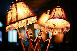 03 Sept 2014. New Orleans, Louisiana. <br /> Lights at Arnaud's French 75 Bar in the French Quarter.<br /> Photo; Charlie Varley/varleypix.com
