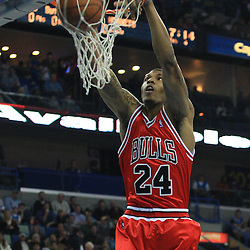 04 February 2009: Chicago Bulls forward Tyrus Thomas (24) dunks during a 93-107 loss by the New Orleans Hornets to the Chicago Bulls at the New Orleans Arena in New Orleans, LA.