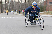 Disabled participant, Terry Wines,  nears the finish line of the 2009 5K Frostbite Run held at Ohio University Saturday February 21, 2009.
