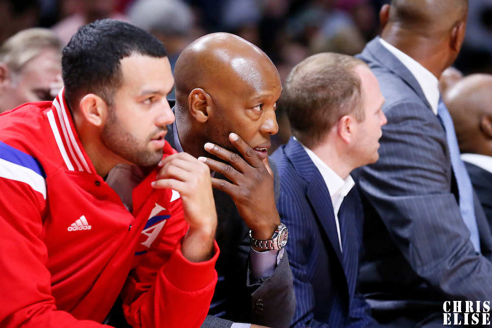 07 October 2014: Los Angeles Clippers Assistant Coach Sam Cassell is seen during the Golden State Warriors 112-94 victory over the Los Angeles Clipper, in a preseason game, at the Staples Center, Los Angeles, California, USA.