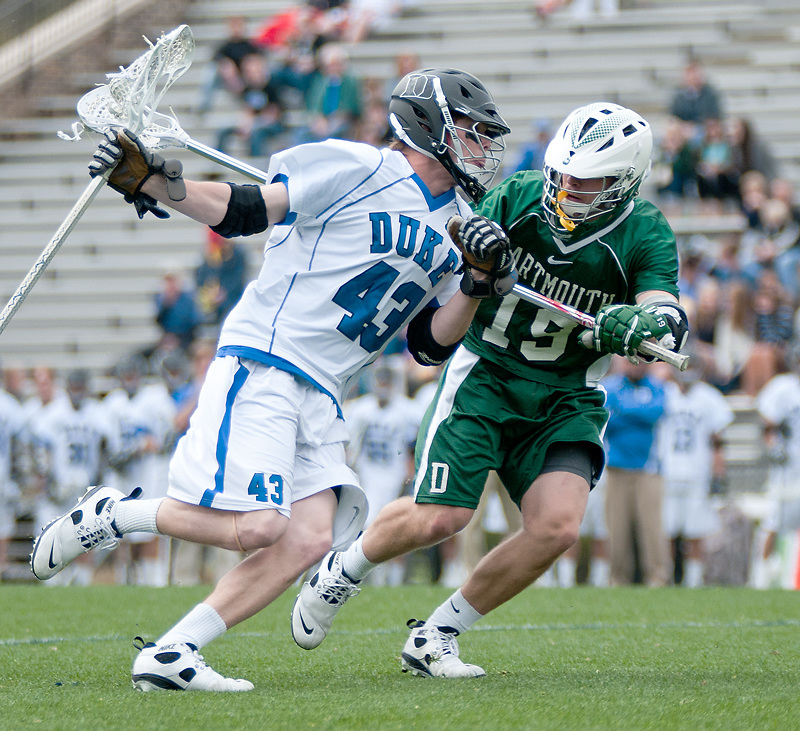 March 20 2011:Duke attack/midfielder Stephen Coyle (43) is guarded by Dartmouth defender Austin Cohen (19).