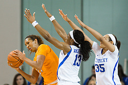 Tennessee center Mercedes Russell, left, looks to avoid traffic in the middle during the first half.<br /> <br /> The University of Kentucky hosted the University of Tennessee, Monday, Jan. 25, 2016 at Memorial Coliseum in Lexington .