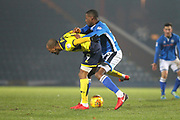 Donervan Daniels challenges Wesley Thomas during the EFL Sky Bet League 1 match between Rochdale and Oxford United at Spotland, Rochdale, England on 16 December 2017. Photo by Daniel Youngs.