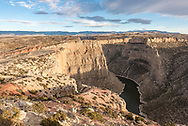 I've been to the Devil Canyon Overlook many times, but this time I wanted to get a different perspective from higher up. This view shows how precarious the overlook is, it's not a good idea to go beyond the railing. It also shows why Bighorn Canyon is one of my favorite places: it's almost always empty.