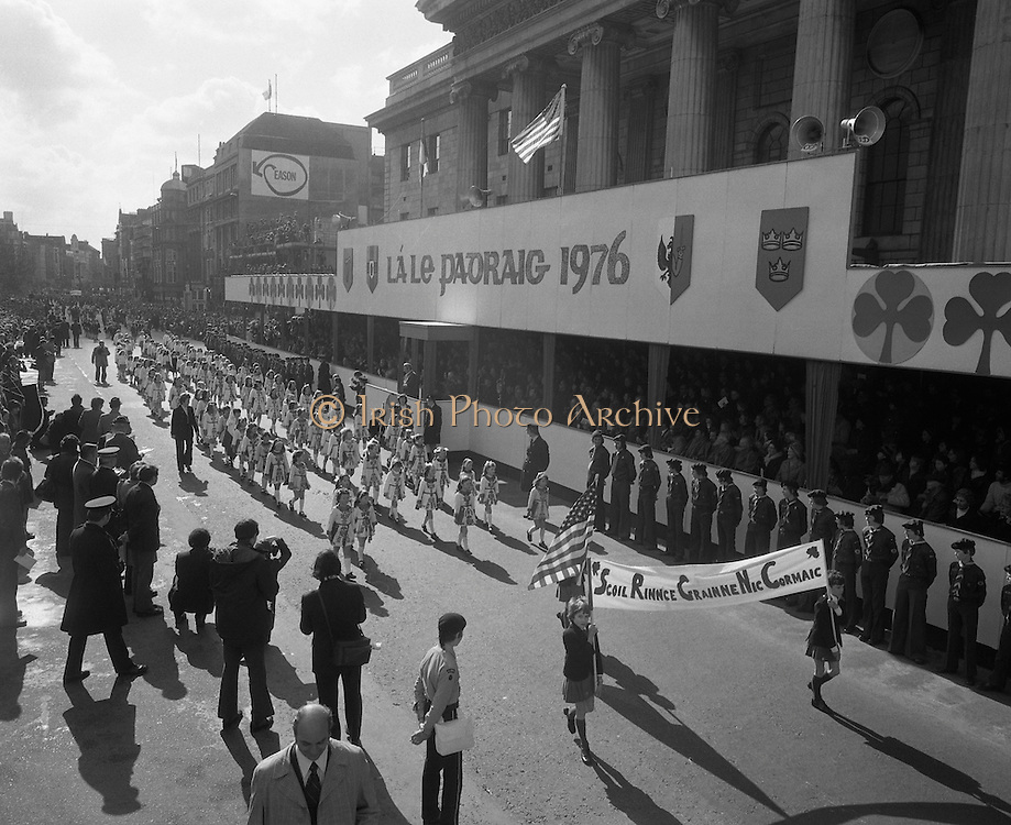 St Patricks day Parade, Dublin .17/03/1976.03/17/1976.17th March 1976.Irish dancers from Scoil Rince Grainne NicCormaic parade past the GPO, O'Connell Street.