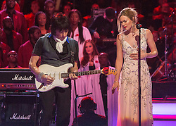© Licensed to London News Pictures. 07/11/2014.  London. Singer Joss Stone and guitarist Jeff Beck perform  at todays Festival of Remembrance.  First broadcast in 1927 the festival has now been held in the Royal Albert Hall for 87 years.  Photo credit : Alison Baskerville/LNP