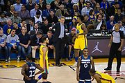Golden State Warriors head coach Steve Kerr talks with Golden State Warriors guard Nick Young (6) between plays against the Minnesota Timberwolves at Oracle Arena in Oakland, Calif., on January 25, 2018. (Stan Olszewski/Special to S.F. Examiner)