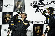 Champagne celebration for race #1.
