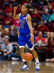 December 15, 2009; Stanford, CA, USA;  Duke Blue Devils guard Jasmine Thomas (5) during the first half against the Stanford Cardinal  at Maples Pavilion.  Stanford defeated Duke 71-55.