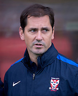 York City manager Jackie McNamara before the Sky Bet League 2 match at Bootham Crescent, York<br /> Picture by Russell Hart/Focus Images Ltd 07791 688 420<br /> 14/11/2015