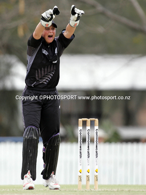 New Zealand's Rebecca Rolls successfully appeals for the wicket of Melissa Bulow during the fourth ODI Rose Bowl cricket match between the White Ferns and Australia at Allan Border Field, Brisbane, Australia, on Thursday 26 October 2006. Australia ended the innings 252 with one wicket in hand. Photo: Renee McKay/PHOTOSPORT<br /><br /><br />261006