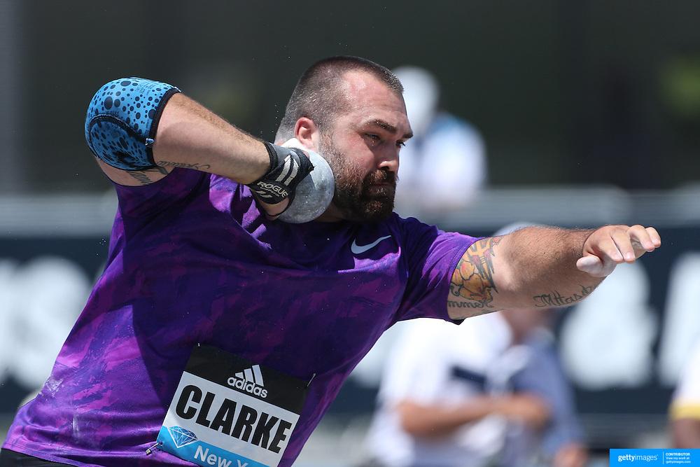 Jordan Clarke, USA, in action in the Men's Shot Put Competition during the Diamond League Adidas Grand Prix at Icahn Stadium, Randall's Island, Manhattan, New York, USA. 13th June 2015. Photo Tim Clayton