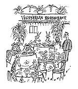 (Animals in vegetarian restaurant)