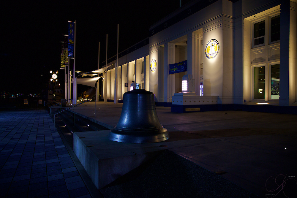 The front entrance to MOAHI at night - a pleasing arrangements of lights for a great place to visit day or night!