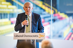 © Licensed to London News Pictures. 04/04/2018. Watford, UK. Sir Vince Cable launches the Liberal Democrat election campaign at Watford Football Club. Photo credit: Rob Pinney/LNP