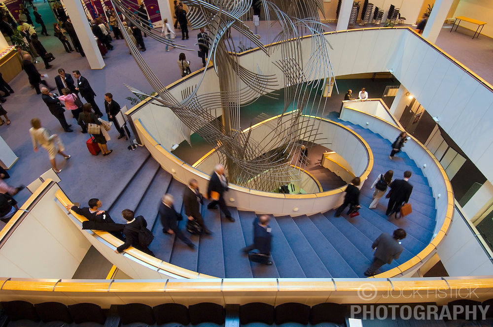 BRUSSELS, BELGIUM - MAY-09-2006 - The lobby of the European Parliament where MEP's , politicians and lobbyists often meet to discuss business and make deals. (PHOTO &copy; JOCK FISTICK)<br />