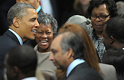 US President Barack Obama greets supporters including Atlanta Mayor Kasim Reed, right, after he speaks at the City of Decatur Recreation Center in Decatur, Georgia, USA, 14 February 2013. Obama was promoting the proposals mentioned in his State of Union speech, including preschool education.
